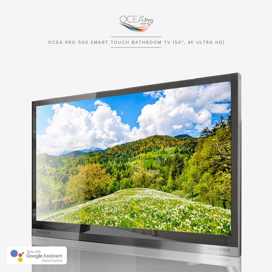 Beautiful and crisp clear image of this 4K ultra high-def resolution bathroom TV.