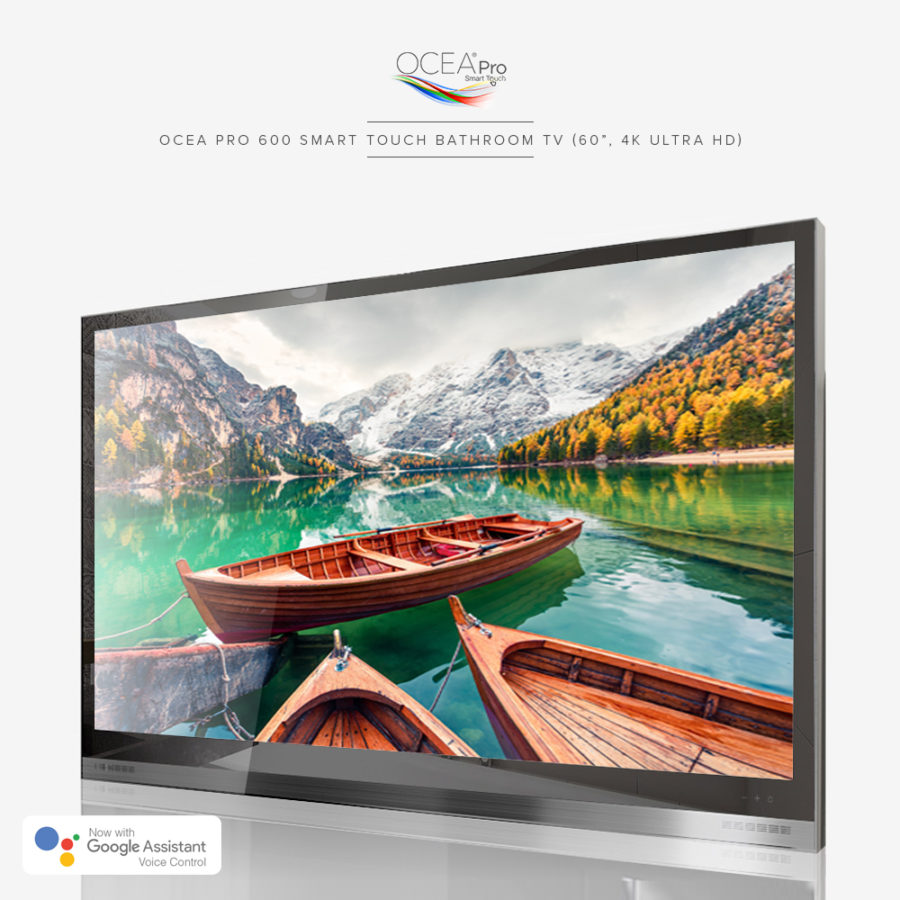 Beautiful lake view displayed on the screen of this amazing bathroom TV.