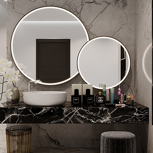 Beautiful round mirrors with brushed aluminum frames and integrated light.