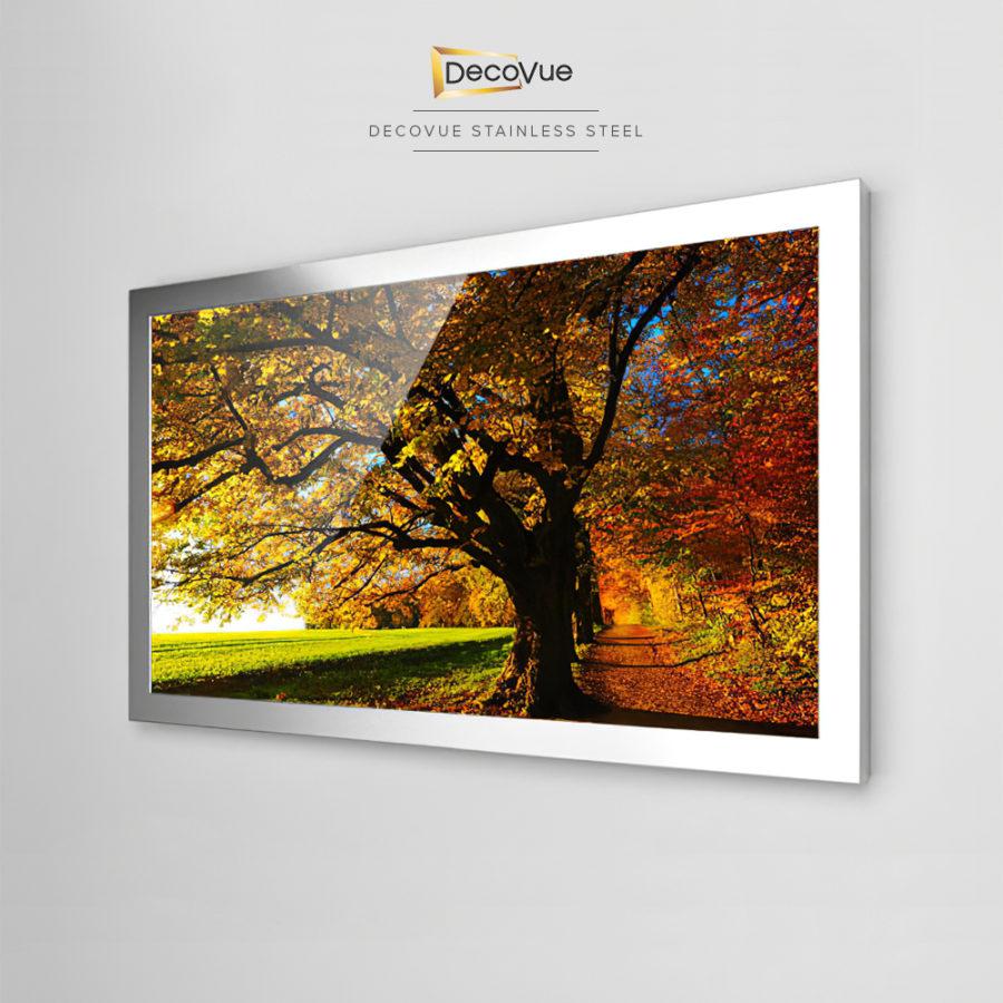 Beautiful and contemporary stainless steel smart vanishing mirror TV.