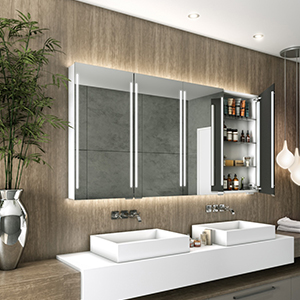 Cabinet with clear and bright mirror and powerful True Light technology.