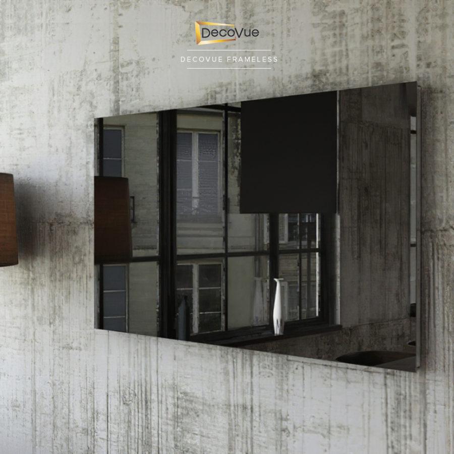 Contemporary and minimalistic frameless smart mirror TV.