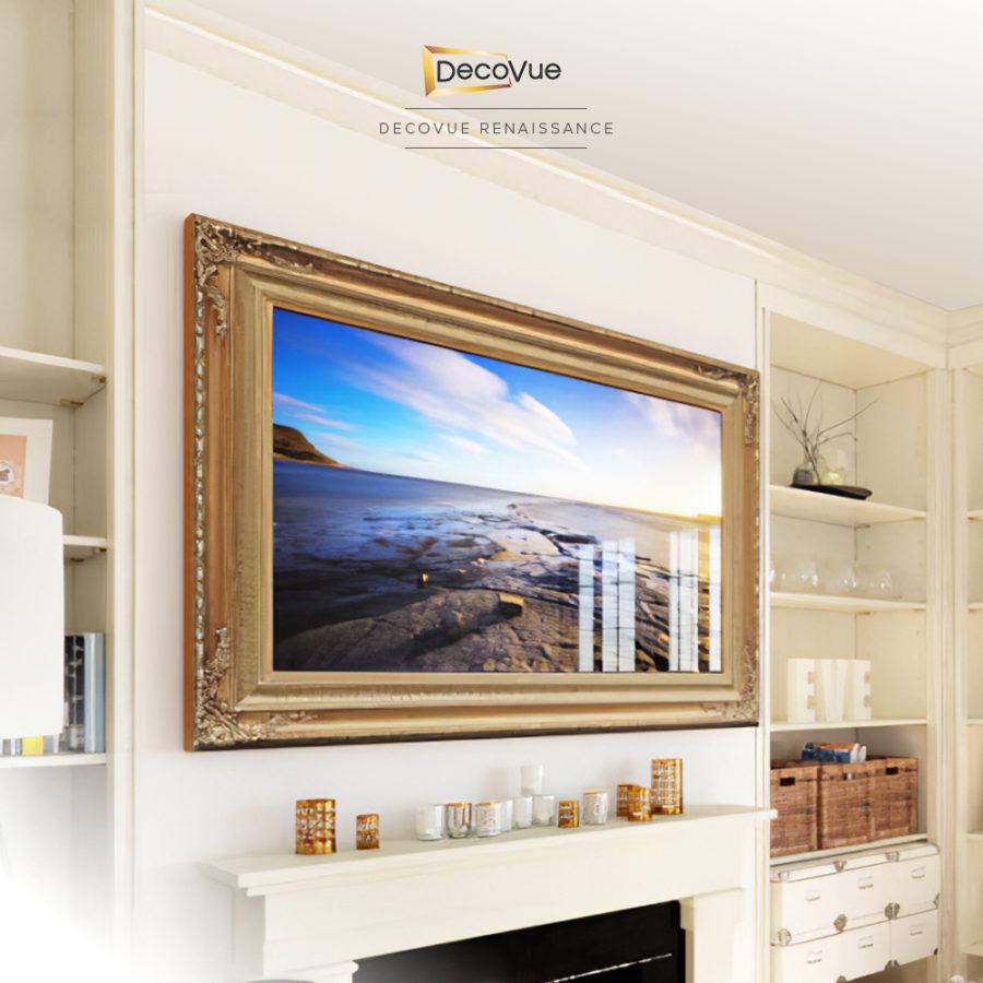 Decorative gold framed smart mirror TV for your living room.