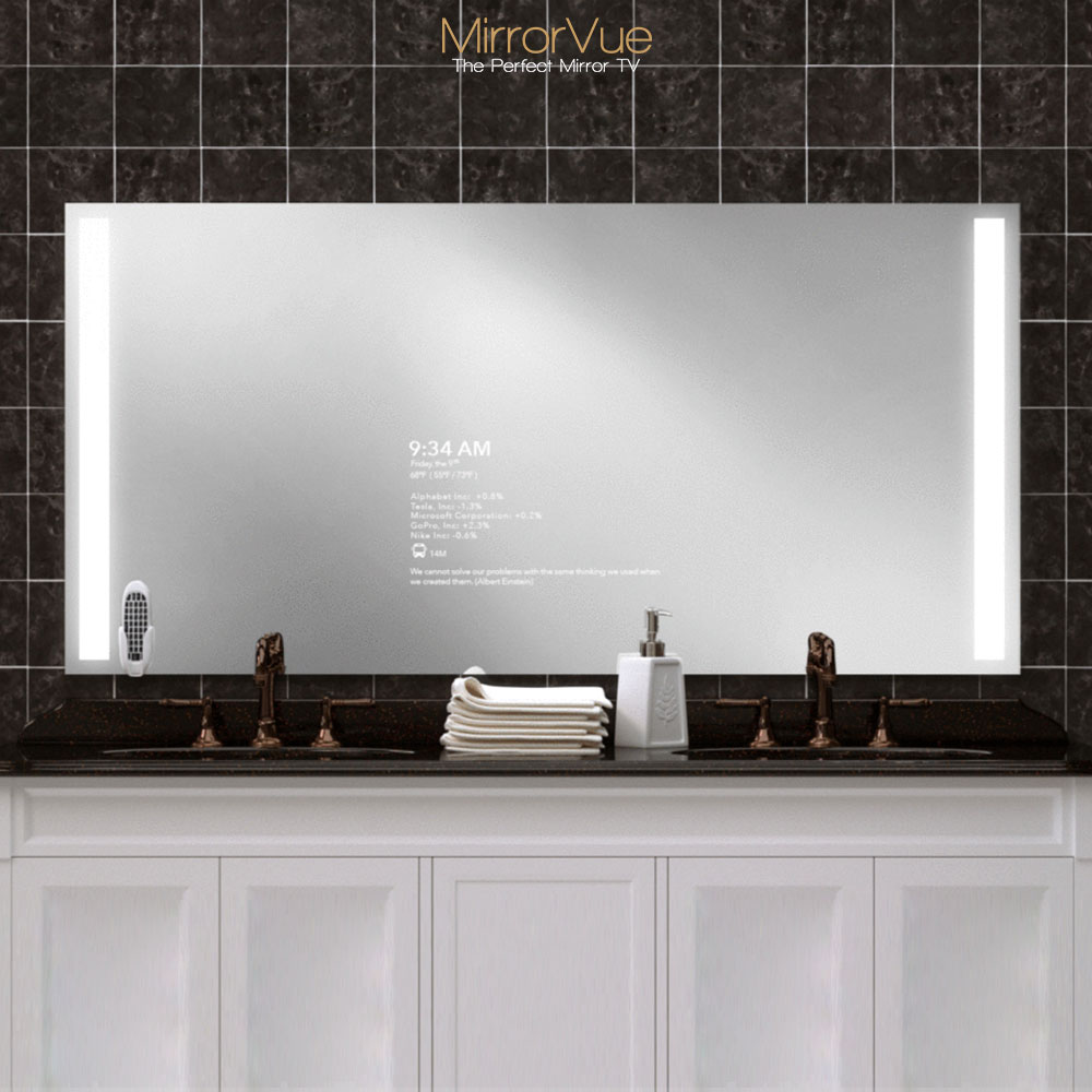 Double sink rustproof mirror glass with integrated light equipped with smart TV.