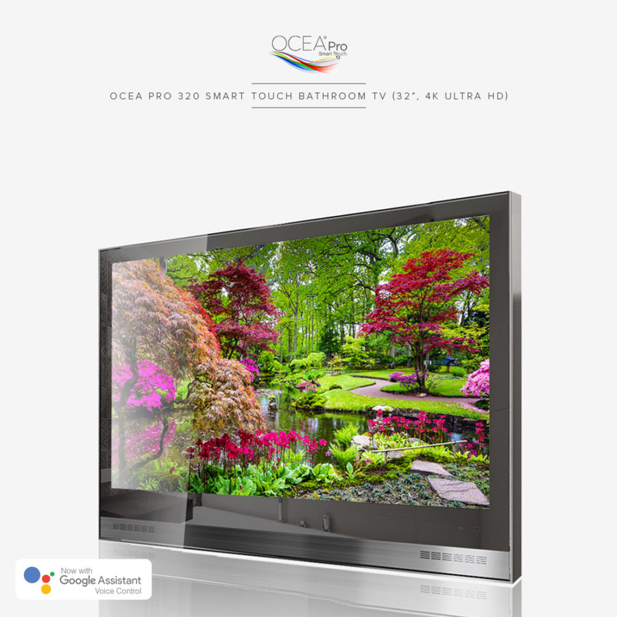 Easy to control bathroom TV with touch buttons, voice control, and remote control.
