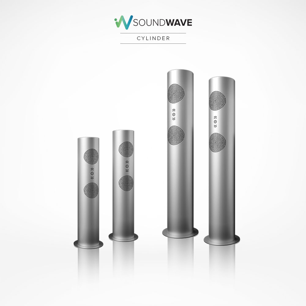 Elegant Soundwave cylinder speakers available in two sizes.