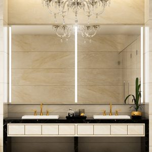 Elegant double sink mirror with integrated light.