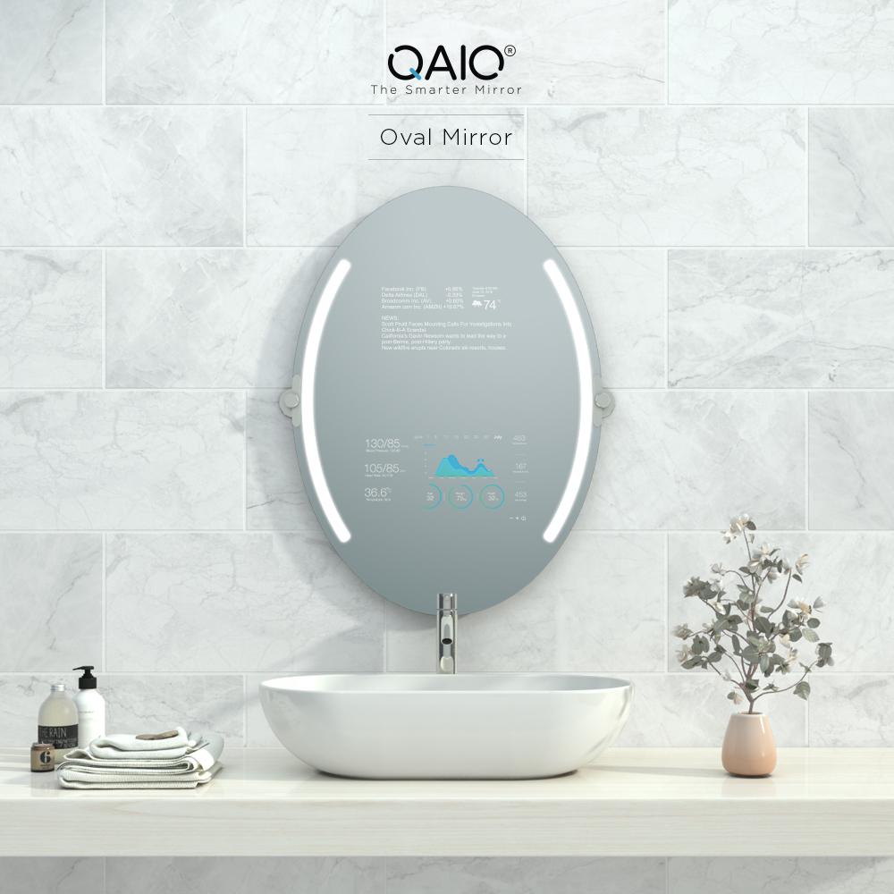 Oval bathroom vanity mirror TV that is very smart and elegant.