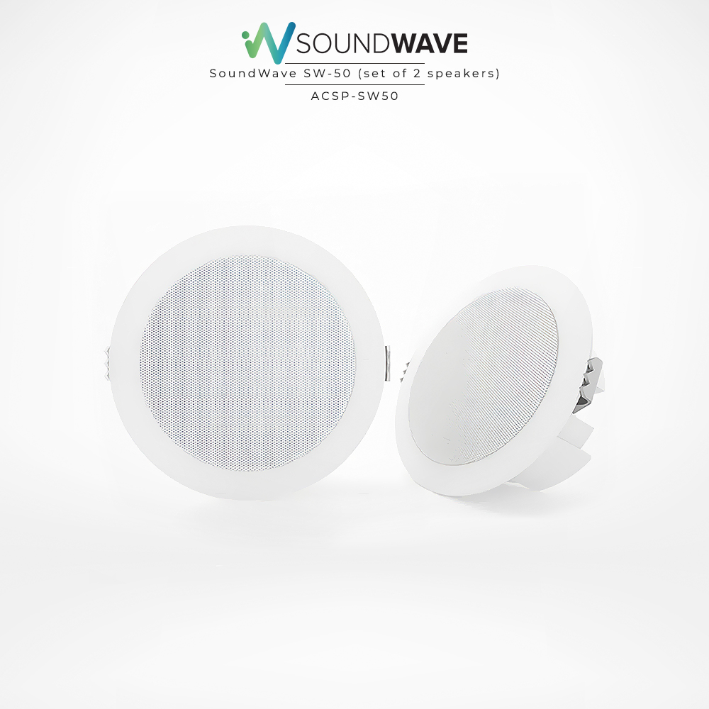 Recessed, moisture resistant speakers in white suitable for bathroom, outdoor, and boats.