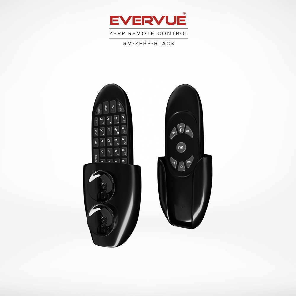 Zepp remote control in black with holder and suction cups for a drill free wall mount.