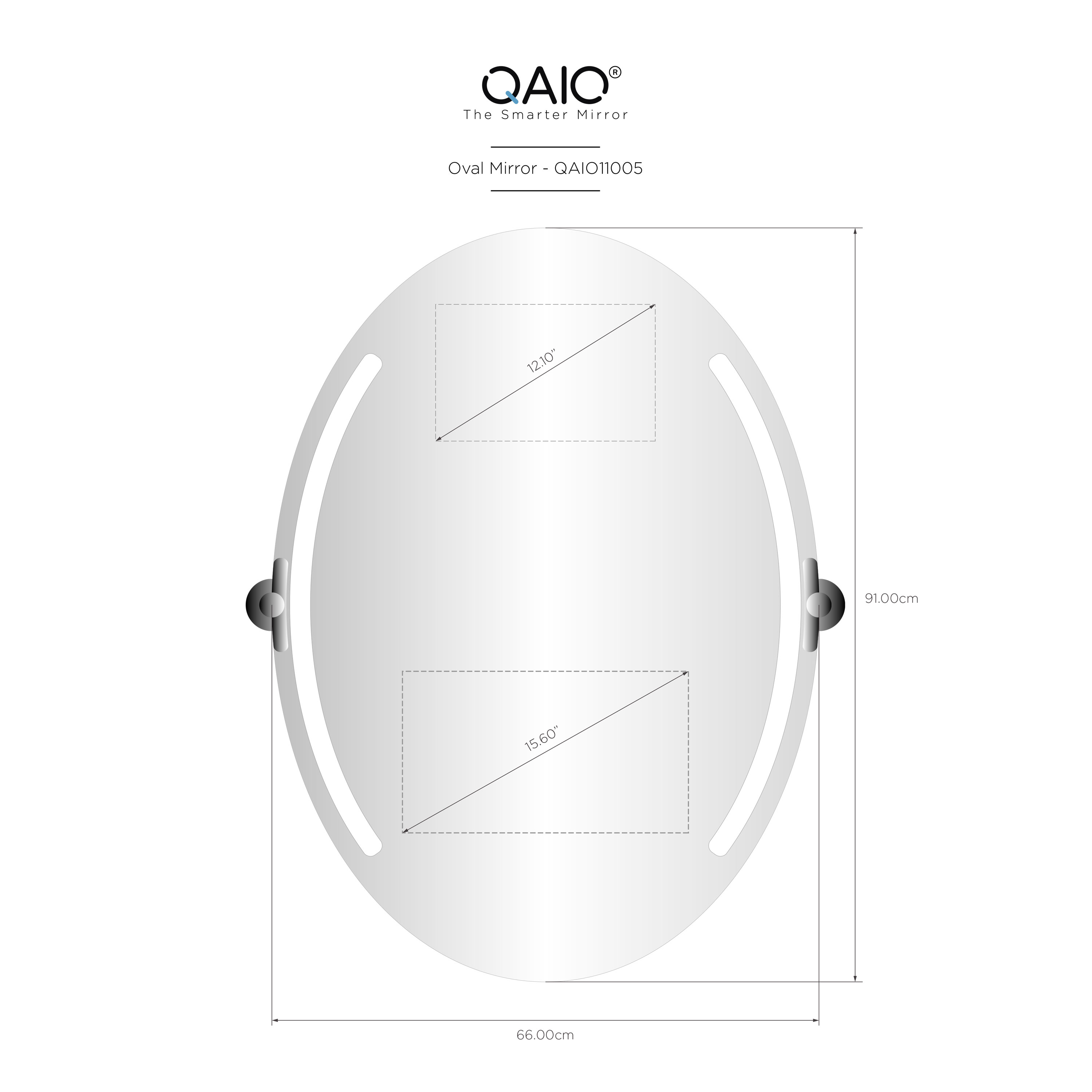 "QAIO Oval  66cm wide x 91cm high, with 15.6""  TV (QAIO11005)"