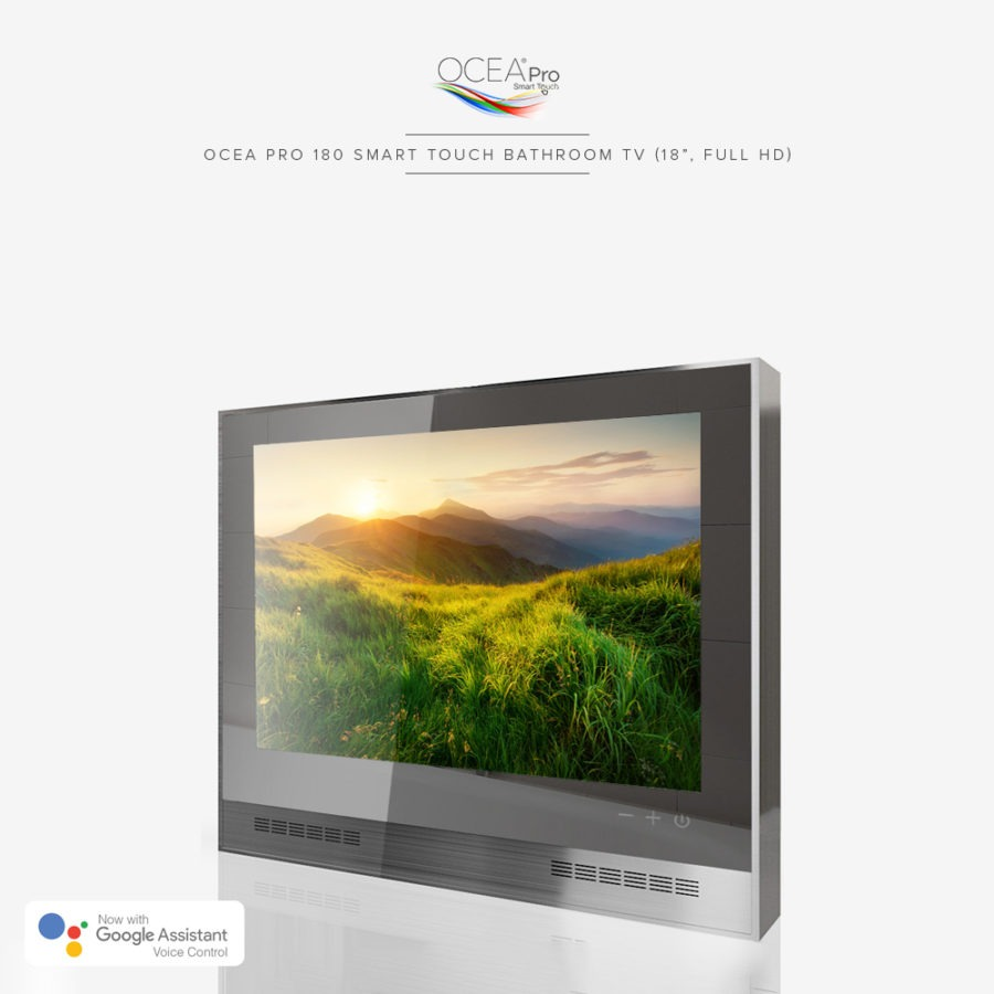 Smart touch bathroom TV suitable for use in extreme wet locations.