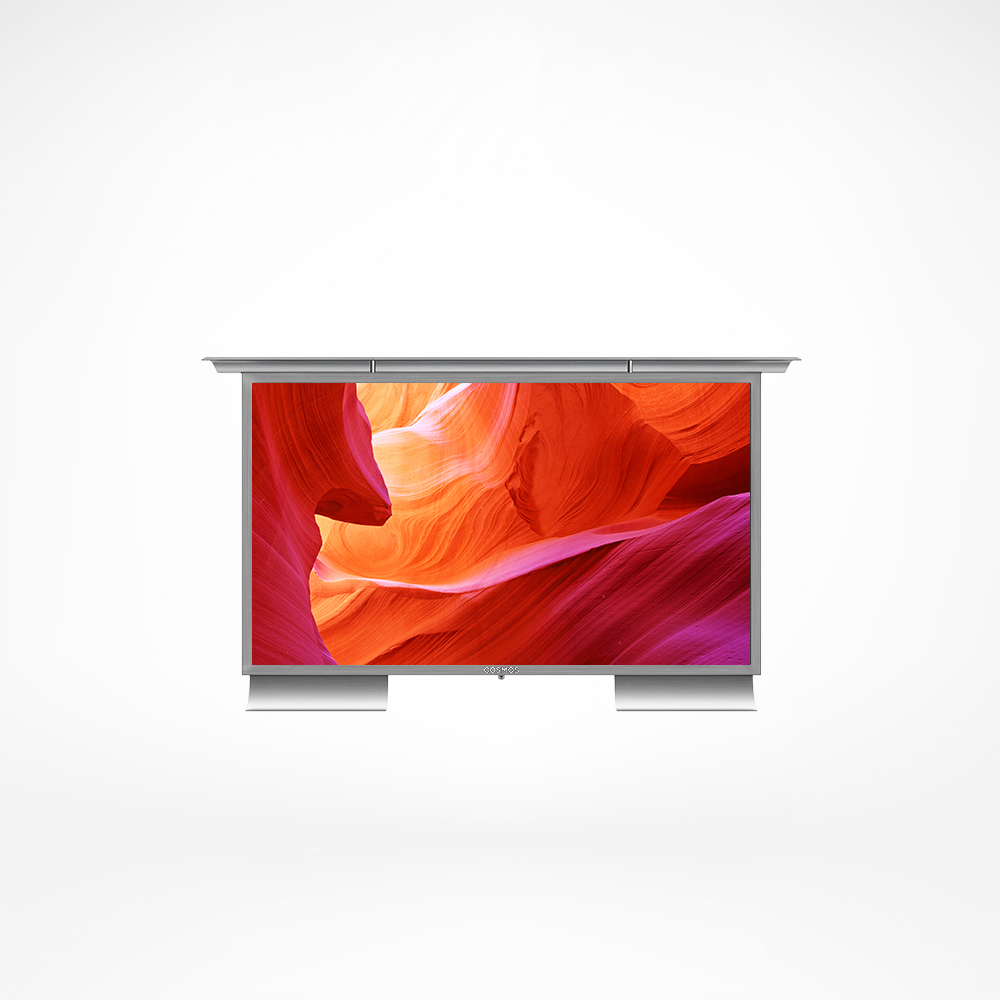 A smart outdoor TV with climate control technology.