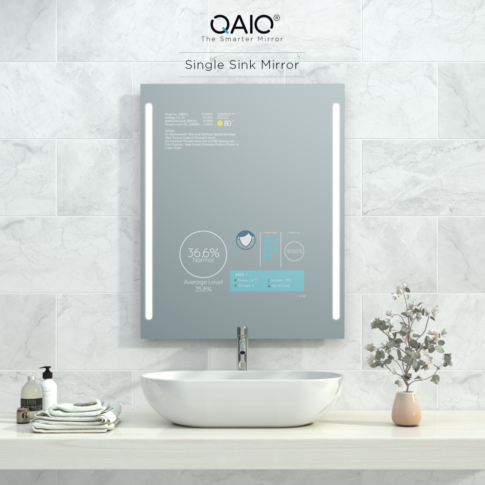 Smart bathroom vanity mirror TV with Alexa Voice Control and Google Assistant.
