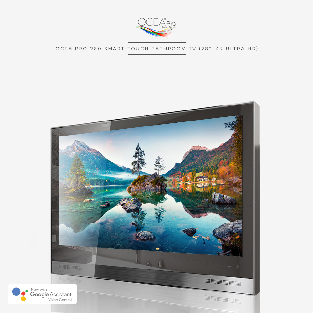 Smart touch bathroom TV with enhanced brightness LED panel for excellent bright picture quality.