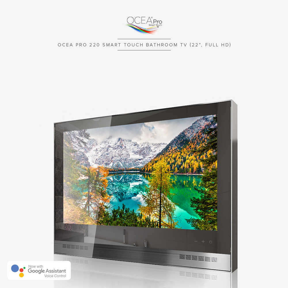 A smart bathroom TV with a speaker bar and touch control buttons.