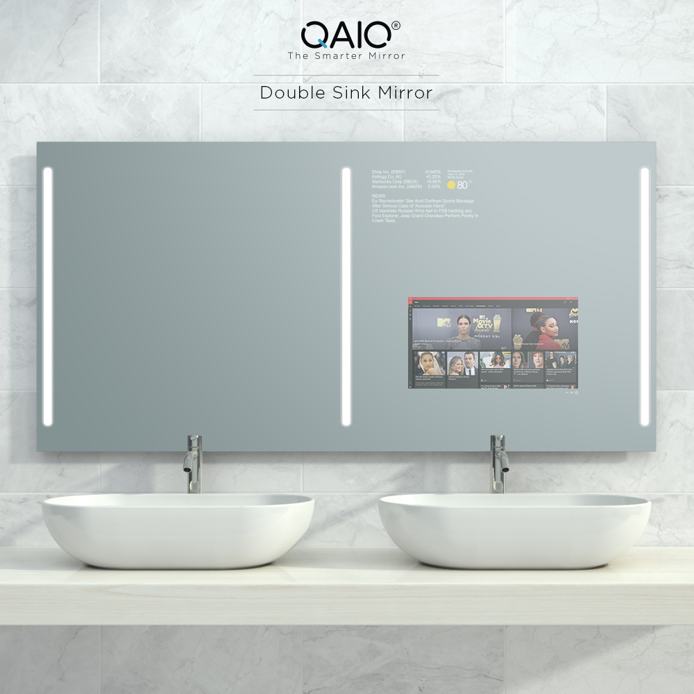 A smart double sink bathroom vanity mirror TV equipped with true lights.