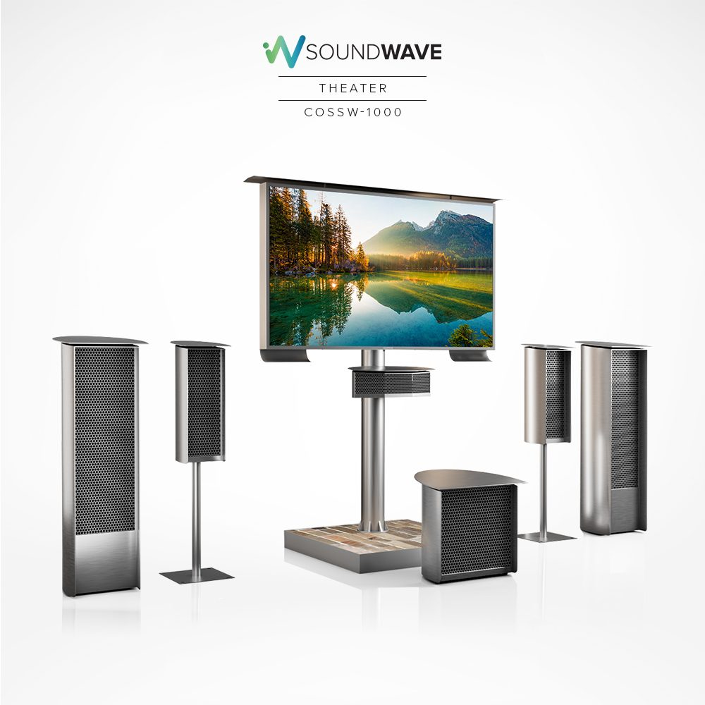 Soundwave theater with center, main, and side speakers and subwoofer.