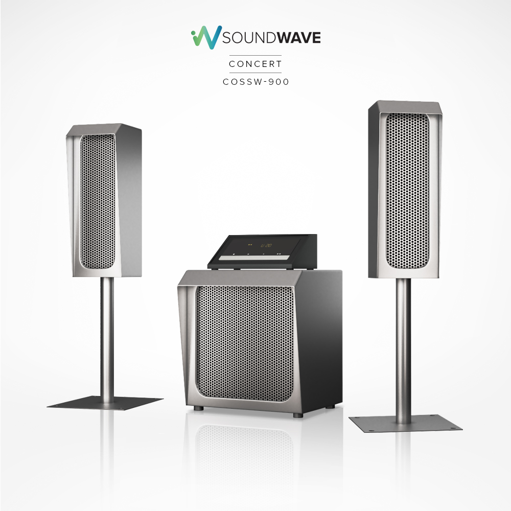 Soundwave concert speakers with a subwoofer included and a touch screen control.