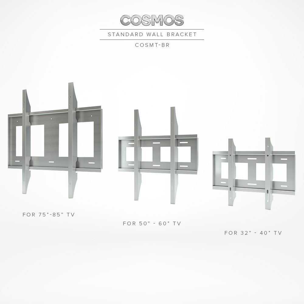 Standard wall mount brackets in different sizes.