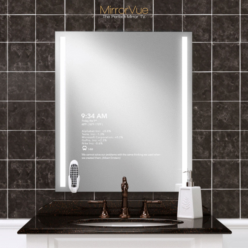Thinnest mirror glass powered with Android for your bathroom.