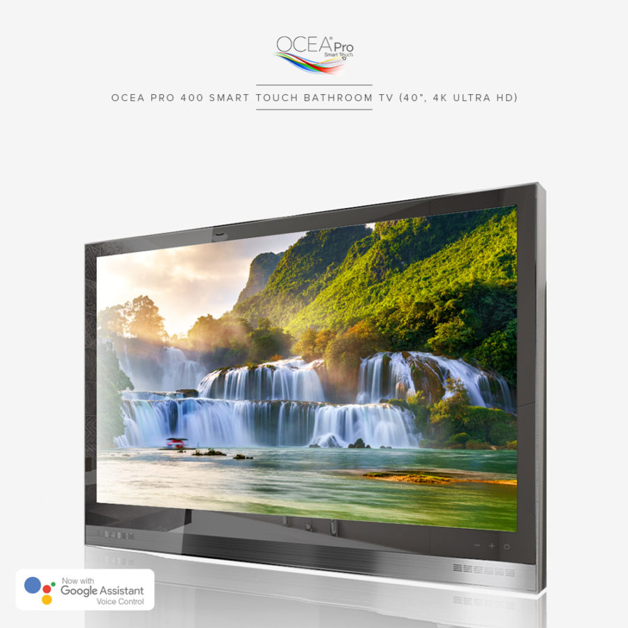 4K ultra HD resolution bathroom TV equipped with Google Assistant voice control.